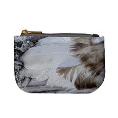 Feather Brown Gray White Natural Photography Elegant Mini Coin Purses