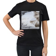 Feather Brown Gray White Natural Photography Elegant Women s T Shirt (black)