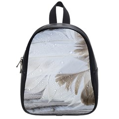 Feather Brown Gray White Natural Photography Elegant School Bag (small)