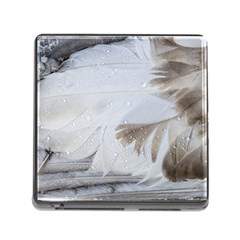 Feather Brown Gray White Natural Photography Elegant Memory Card Reader (square)