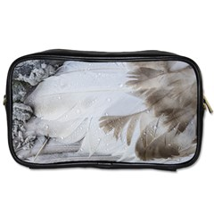 Feather Brown Gray White Natural Photography Elegant Toiletries Bags 2 Side