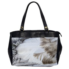 Feather Brown Gray White Natural Photography Elegant Office Handbags (2 Sides)