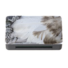 Feather Brown Gray White Natural Photography Elegant Memory Card Reader With Cf