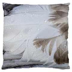 Feather Brown Gray White Natural Photography Elegant Large Cushion Case (two Sides)