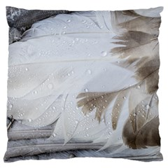 Feather Brown Gray White Natural Photography Elegant Large Flano Cushion Case (one Side) by yoursparklingshop