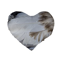 Feather Brown Gray White Natural Photography Elegant Standard 16  Premium Flano Heart Shape Cushions by yoursparklingshop