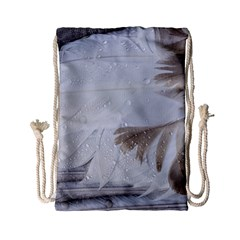 Feather Brown Gray White Natural Photography Elegant Drawstring Bag (small)