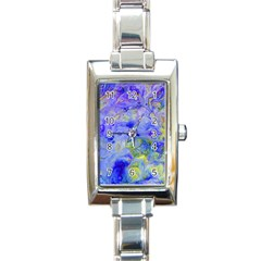 Abstract Blue Texture Pattern Rectangle Italian Charm Watch