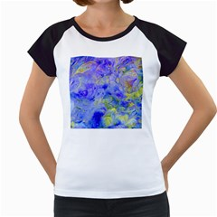Abstract Blue Texture Pattern Women s Cap Sleeve T