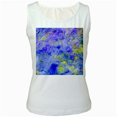 Abstract Blue Texture Pattern Women s White Tank Top