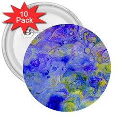 Abstract Blue Texture Pattern 3  Buttons (10 Pack)
