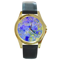 Abstract Blue Texture Pattern Round Gold Metal Watch