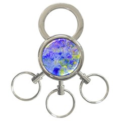 Abstract Blue Texture Pattern 3 Ring Key Chains