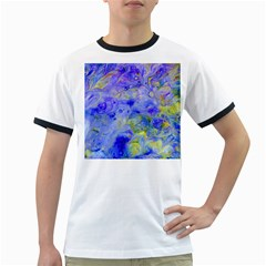 Abstract Blue Texture Pattern Ringer T Shirts