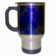 Abstract Blue Texture Pattern Travel Mug (silver Gray)