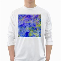 Abstract Blue Texture Pattern White Long Sleeve T Shirts