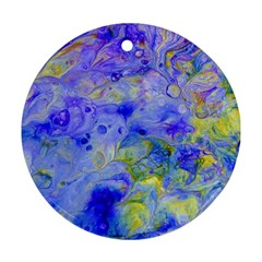 Abstract Blue Texture Pattern Round Ornament (two Sides)