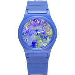 Abstract Blue Texture Pattern Round Plastic Sport Watch (s)