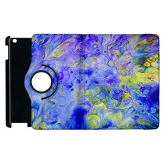 Abstract Blue Texture Pattern Apple Ipad 2 Flip 360 Case by Simbadda