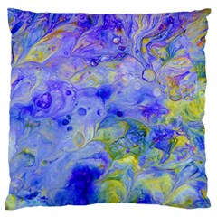 Abstract Blue Texture Pattern Large Flano Cushion Case (two Sides)