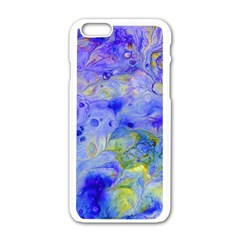 Abstract Blue Texture Pattern Apple Iphone 6/6s White Enamel Case