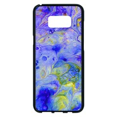 Abstract Blue Texture Pattern Samsung Galaxy S8 Plus Black Seamless Case