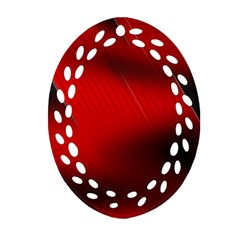 Red Black Abstract Oval Filigree Ornament (two Sides)