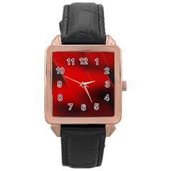 Red Black Abstract Rose Gold Leather Watch