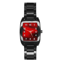 Red Black Abstract Stainless Steel Barrel Watch