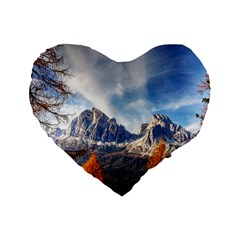 Dolomites Mountains Italy Alpine Standard 16  Premium Heart Shape Cushions
