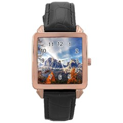 Dolomites Mountains Italy Alpine Rose Gold Leather Watch