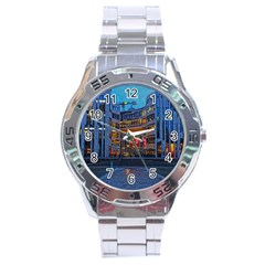Architecture Modern Building Stainless Steel Analogue Watch