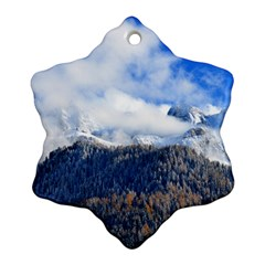 Mountains Alpine Nature Dolomites Snowflake Ornament (two Sides)