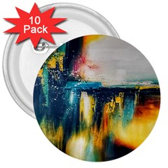 Art Painting Abstract Yangon 3  Buttons (10 Pack)
