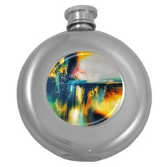 Art Painting Abstract Yangon Round Hip Flask (5 Oz)