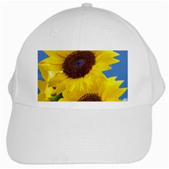 Sunflower Floral Yellow Blue Sky Flowers Photography White Cap by yoursparklingshop