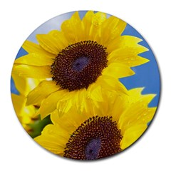 Sunflower Floral Yellow Blue Sky Flowers Photography Round Mousepads