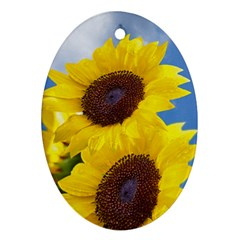 Sunflower Floral Yellow Blue Sky Flowers Photography Ornament (oval)