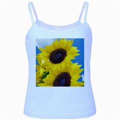Sunflower Floral Yellow Blue Sky Flowers Photography Baby Blue Spaghetti Tank