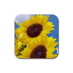 Sunflower Floral Yellow Blue Sky Flowers Photography Rubber Square Coaster (4 Pack)  by yoursparklingshop