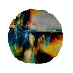 Art Painting Abstract Yangon Standard 15  Premium Flano Round Cushions