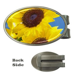 Sunflower Floral Yellow Blue Sky Flowers Photography Money Clips (oval)  by yoursparklingshop