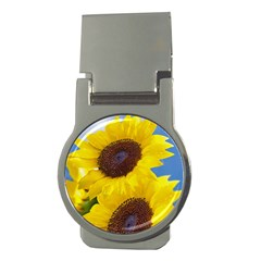 Sunflower Floral Yellow Blue Sky Flowers Photography Money Clips (round)