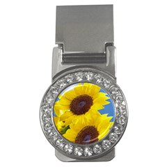 Sunflower Floral Yellow Blue Sky Flowers Photography Money Clips (cz)