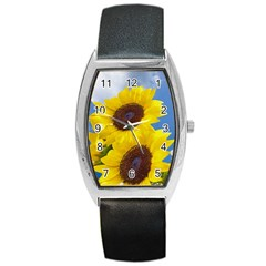 Sunflower Floral Yellow Blue Sky Flowers Photography Barrel Style Metal Watch by yoursparklingshop