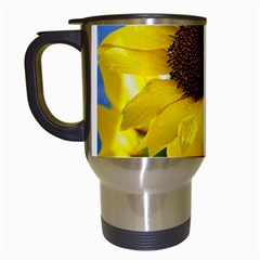 Sunflower Floral Yellow Blue Sky Flowers Photography Travel Mugs (white)