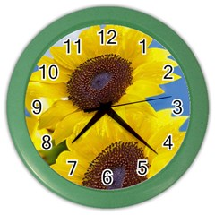 Sunflower Floral Yellow Blue Sky Flowers Photography Color Wall Clocks