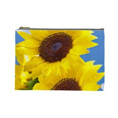 Sunflower Floral Yellow Blue Sky Flowers Photography Cosmetic Bag (large)