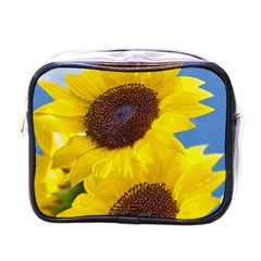 Sunflower Floral Yellow Blue Sky Flowers Photography Mini Toiletries Bags by yoursparklingshop