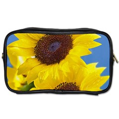 Sunflower Floral Yellow Blue Sky Flowers Photography Toiletries Bags 2 Side by yoursparklingshop